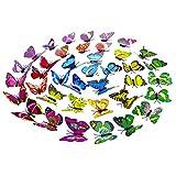 Vosarea 50 piezas 3d mariposa pegatinas de pared extraíble doble cubierta mariposa mural tatuajes de pared para sala de estar diy decoración del dormitorio (tipo de palo)