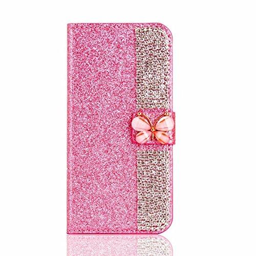 XINYIYI Luxe Bling Glitter Coque pour iPhone 7 Plus/8 Plus, Housse Étui en PU Cuir Wallet Protection Fonction Stand et Carte Slot avec Diamant Strass Papillon Fermeture Magnétique 5,5\