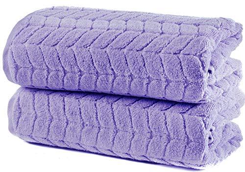 Bagno Milano 100% Turkish Cotton Jacquard Luxury Towel Set – Quick Dry Non-GMO Ultra-Soft, Plush and Absorbent Luxury Durable Turkish Towels Set (Lavender, 2 pcs Bath Towel Set)