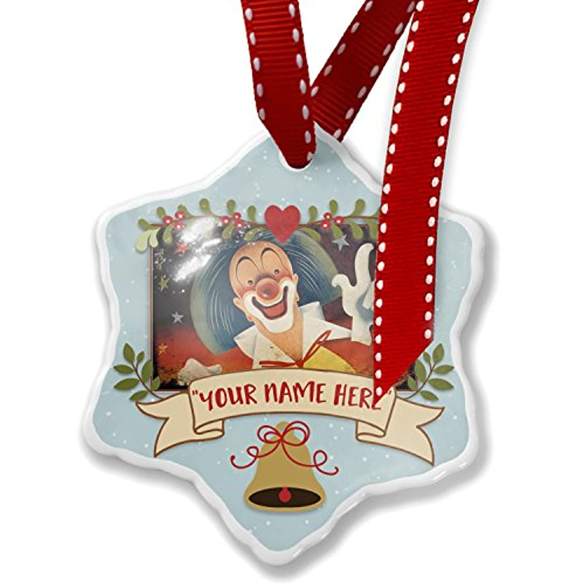 NEONBLOND Add Your Own Custom Name, Circus Clown Christmas Ornament
