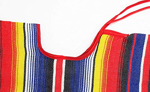 Aura Fancy Dress (TM) Multicoloured Mexican Style Wild West Poncho with 2 Maracas (various colours)