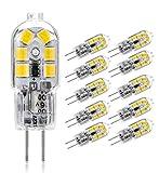Bombilla LED G4,Blanco Frío 6000K AC/DC 12V 100LM,1.5W (15W Halógeno Lampara Equivalente)Base Bi-Pin G4,Tipo JC,No Regulable Bombillas de Cápsula,Sin Parpadeo,para Iluminación Doméstica (10 paquetes)