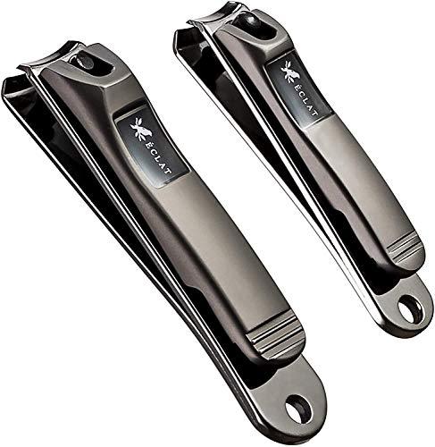 Langlebiger Nagelknipser mit integrierter Nagelfeile aus 410er Edelstahllegierung mit verbessertem Design - 2er Pack Fingernagelknipser und Fußnagelknipser