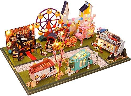 YUACY Puppen Haus Kit,DIY Cottage StraßE Markt Autohaus Cottage Dekoration HöLzerne Miniaturen Mit Staubschutz Weihnachten Geburtstag Geschenke