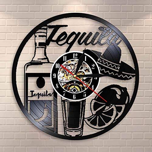 3D Vinyl Wanduhr Getränk Wanduhr Tequila Zeit Wand Kunst Vintage Wanduhr Getränk Bar Wein Bar Zeichen Weinmann