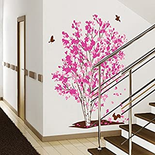 One Tree Dream Pink Flowers Birds Wall Stickers Home Decoration In Living Room