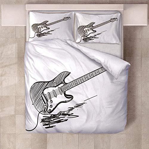 WZSZSA Impresa en 3D Juego de Funda de Edredón Guitarra Blanca Negra 220x240cm Juego de Ropa de Cama 3 Piezas 1 Funda Nórdica y 2 Funda de Almohada,Cierre de Cremallera Microfibra