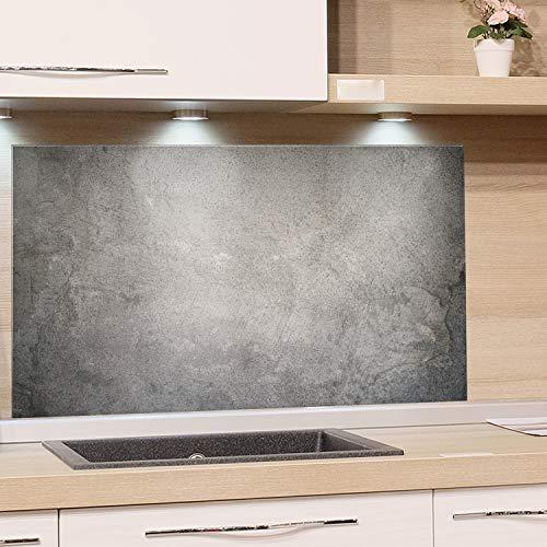 GRAZDesign Spritzschutz Glas, Bild-Motiv Granit Grau Marmor, Glasbild als Küchenrückwand - Küchenspiegel - Wandschutz Küche Herd / 80x40cm