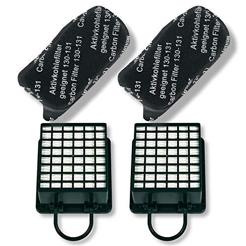 Juego de 2 filtros de carbón activo y 2 filtros HEPA para aspiradora Vorwerk FL-A13 FL-H13 Kobold VK130 VK131 VK131SC