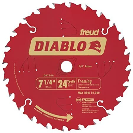 10 Pack Freud D0724a Diablo 7 1 4 Inch 24 Tooth Atb Framing Saw Blade With 5 8 Inch And Diamond Knockout Arbor Amazon Com