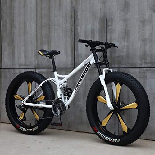 Tochange Las Bicicletas de montaña, Fat Tire 26 Pulgadas, Llantas de Acero de Alto Carbono de Doble Bastidor de suspensión Sport montaña de la Bicicleta por Hombre y la Mujer,Blanco,7 Speed