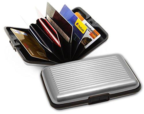 Kreditkartenetui aus Aluminium - schützt RFID / NFC Chips in Personalausweis, Führerschein, EC- und Kreditkarten. Geldbörse für bis zu 12 Karten oder Ausweise. (Silber)