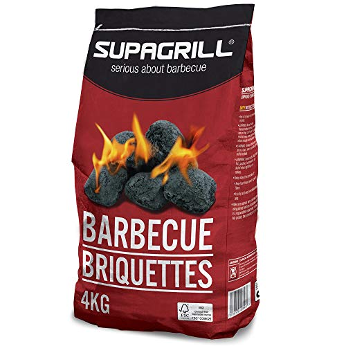 Supagrill CPL BBQ Charcoal Barbecue Briquettes Coal Fuel Instant Light Lumpwood Cooking Grill (Barbecue Briquettes - 4KG)
