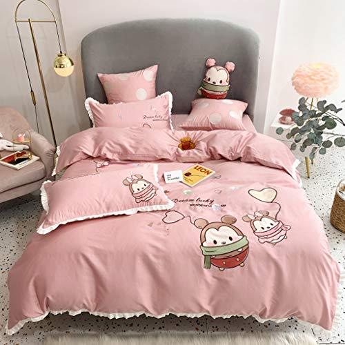 DYXYH Floral Rüschen Rand Bettwäsche Bettwäsche Deckung Mädchen Bettwäsche Sets 100% Baumwolle Reversible Ultraing Weiche Bettwäsche Set (Color : Pink, Size : 1.5M)