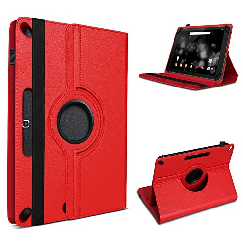 UC-Express Tablet Hülle kompatibel für TrekStor Primetab P10 Tasche Schutzhülle Cover Hülle 360° Drehbar, Farbe:Rot