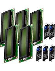 AZDelivery 5 x Modulo Pantalla LCD Display Verde HD44780 1602 con interfaz I2C 16x2 caracteres negros compatible con Arduino con E-book incluido!