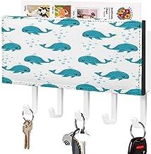 Clé murale - Crochet de clé mural, porte-clé de courrier, organisateur de clé de courrier, motif de dauphins et de baleine...
