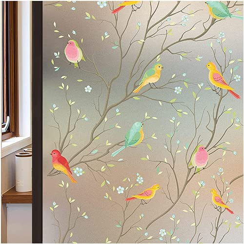 Coavas Privacy Window Film Opaque Non-Adhesive Frosted Bird Window Film Decorative Glass Film Static Cling Film Bird Window Stickers for Home Office 17.7In. by 78.7In. (45 x 200Cm)
