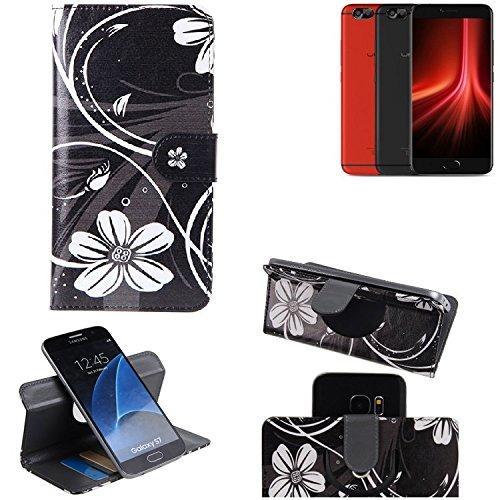 K-S-Trade® Schutzhülle Für UMIDIGI Z1 Pro Hülle 360° Wallet Case Schutz Hülle ''Flowers'' Smartphone Flip Cover Flipstyle Tasche Handyhülle Schwarz-weiß 1x