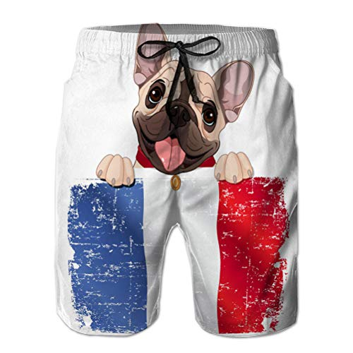 qianfengdamaoyi Shorts de Playa con Estampado de bañador para Hombre con Bolsillos Ventilador de Bulldog francés