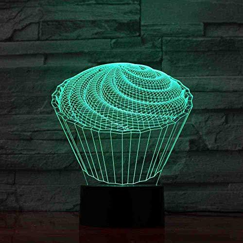 BDDLLM 7 Coloré Bébé Chambre À Coucher Décor 3D Led La Spirale Cake Lampe De Table Enfants Jouets Cadeaux Veilleuses Veilleuse Au Dessert Dessert Luminaires