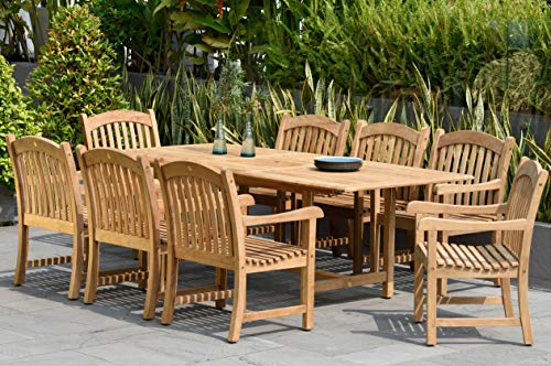 Amazonia Newcastle 9-Piece Outdoor Rectangular Dining Table Set | Certified Teak | Ideal for Patio and Indoors, Light Brown
