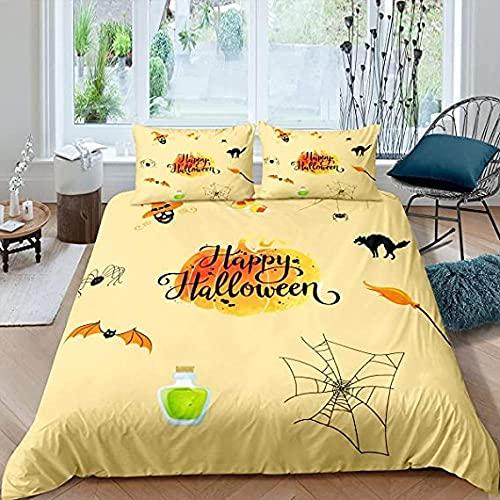 HSBZLH Halloween Duvet Cover Set for Boys Girls,Pumpkin Lantern Bedding Set 3 Pcs Festival Gift Bedroom Decor Soft Comforter Cover
