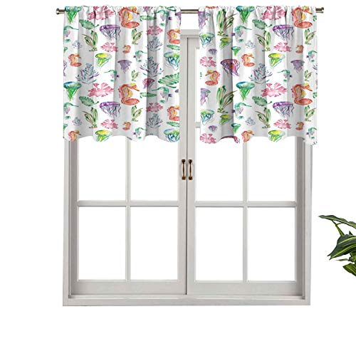 Hiiiman Cortinas opacas cortas, patrón de bolsillo para barra con coloridos caballitos de mar, juego de 1, cenefas pequeñas de media ventana de 137 x 45 cm para dormitorio