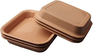 BangQiao 5.70 Inch Plastic Square Plant Pot Saucer Tray for Indoor and Outdoor Plants, Pack of 6, Terracotta