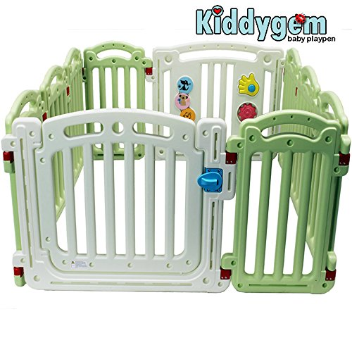 Kiddygem M7 Extra Tall Baby playpen (10 Panels) - Green (15.5 sq.ft)