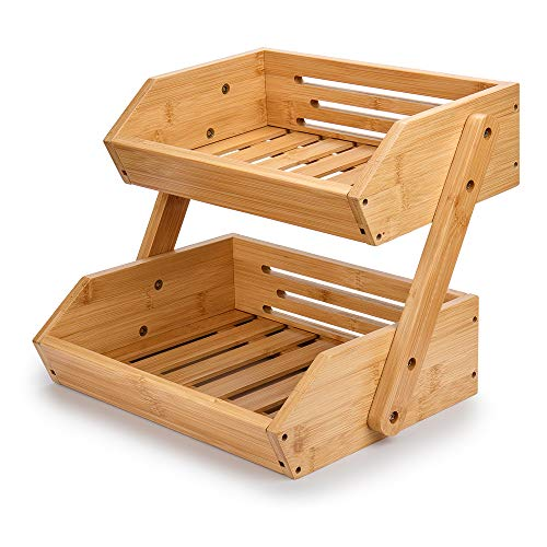 G.a HOMEFAVOR - Soporte de bambú para Cesta de Frutas de 2 Niveles, Canasta de Frutas Soporte de Almacenamiento de Pan y Verduras para encimera de Cocina