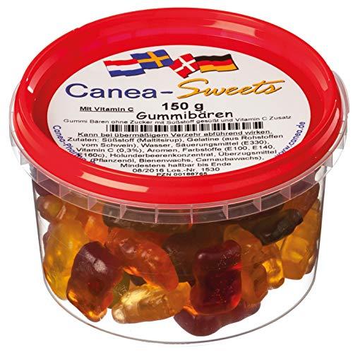 Canea-Sweets Zuckerfreier Fruchtgummi-Genuss, GUMMIBÄREN zuckerfrei Dose, 1er Pack (1 x 150 g)