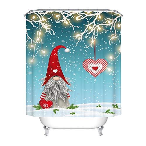 Wishwin Duschvorhang mit Haken Weihnachten 3D Digitaldruck Gnome Schneeflocke Wasserdichtes Polyester Duschvorhang Set 71 * 71 Zoll