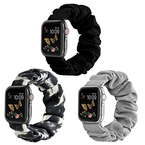 Compatible for Scrunchie Apple Watch Band 38mm 42mm 40mm 44mm Cute Print Elastic Watch Bands Women Bracelet Strap Compatible for Apple iWatch Series 6 5 4 3 2 1(3 Pack-H, 38/40mm-Small)