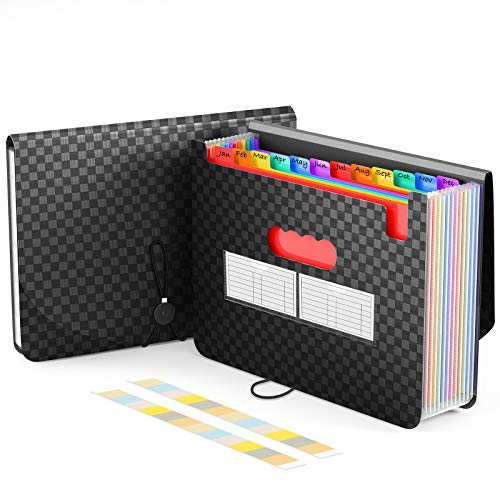 ActFaith Expanding File Folder A4 Accordion Wallet Folder with 13 Pockets File Organiser Portable Documents Holder with Lid,Multicolor Rainbow Filing Folders for Office/Business/School