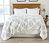 Home Fashion Designs Premium Reversible Sherpa and Fleece Velvet Plush Blanket. Fuzzy, Soft, Warm Berber Fleece Bed Blanket Brand. (Twin, Toile Blue)