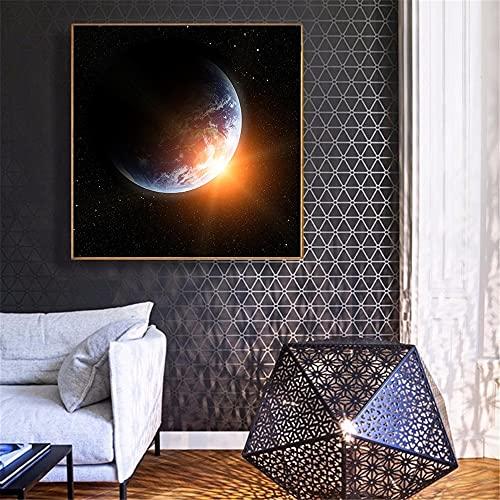 Vía Láctea Galaxy Moon Earth Poster Print Space Starry Night Pictures para la decoración del hogar Decoración de la pared Cuadros Decoracion Salon 30x30 CM (sin marco)