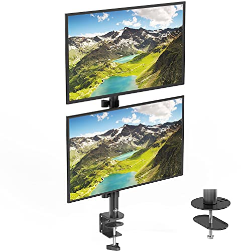 WALI Dual Monitor Desk Mount Stand for LCD LED Flat Screen TV Holds in Vertical Position 2 Screens up to 27 Inch with Optional Grommet Base (M002XLS), Black