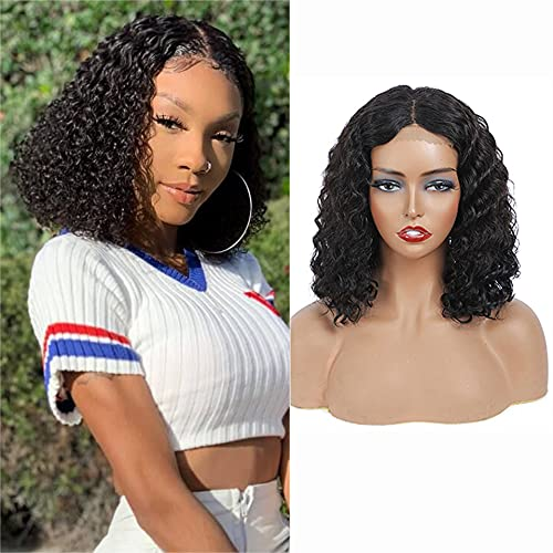 NIUDINNG Human Hair Wig Short Wig Bob 4x4 Lace Front Wigs Deep Wave Brazilian Remy Human Hair Natural Black Color Hd Lace Closure For Black Women 12 Inch