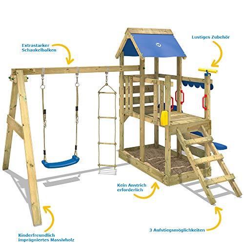 WICKEY Spielturm Klettergerüst TurboFlyer mit Schaukel & blauer Rutsche, Kletterturm mit Sandkasten, Leiter & Spiel-Zubehör - 4
