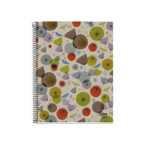 Miquelrius 2459 - Cuaderno 100% Reciclado, 4 Franjas de Color, A4, 120 Hojas Cuadriculadas 5 mm, Papel 80 g, 4 Taladros, Cubierta de Cartón Reciclado, Diseño Ecobirds