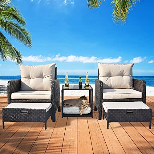 Apepro 5 Piece Patio Furniture Set Patio Conversation Sets, Outdoor Wicker Furniture with Ottoman, Outdoor Patio Chairs Furniture Wicker Patio Bistro Set for Backyard Pool Porch Deck Khaki