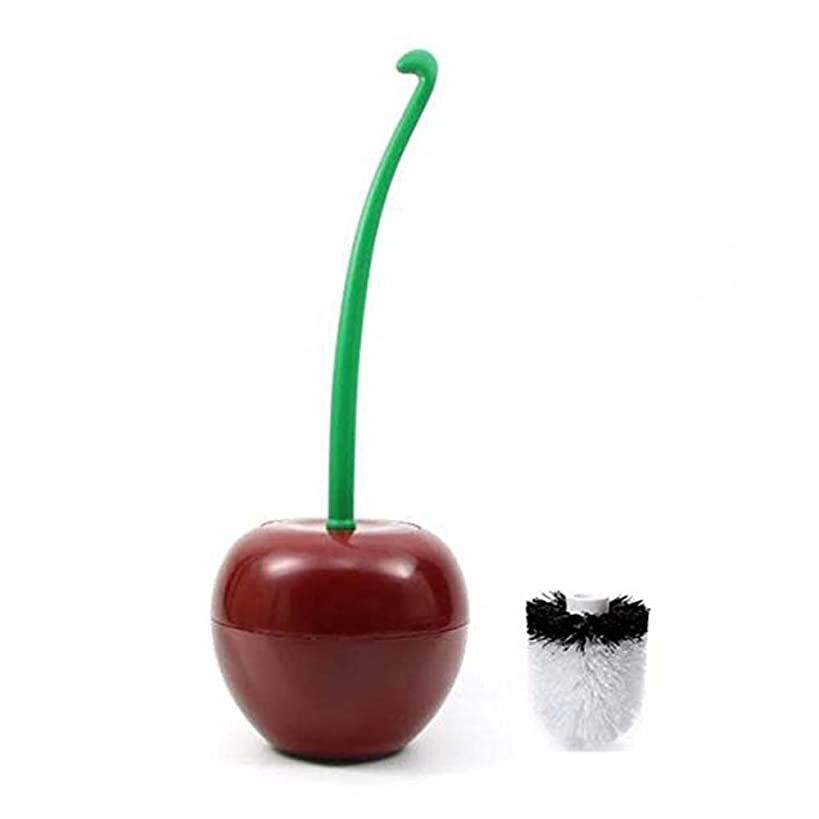 Lovely Claret Cherry Shaped Toilet Brush Set Lavatory Cleaning Tool with Addition Toilet Brush Replacement Head
