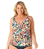Anne Cole Women's Plus Size Twist Front Underwire Tankini Swim Top, Sunset Floral, 18W