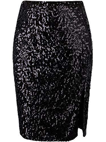 VIJIV Women's Classy Slit Sequin Midi Pencil Skirts High Waist Stretchy Sparkle Glitter Party Cocktail Black X-Large