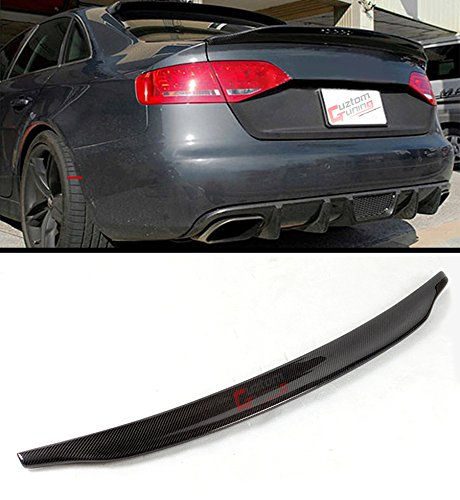 Cuztom Tuning Fits for 2013-2016 Audi A4 B8.5 Cat Style High Kick Duckbill Carbon Fiber Trunk Boot Lid Spoiler Wing