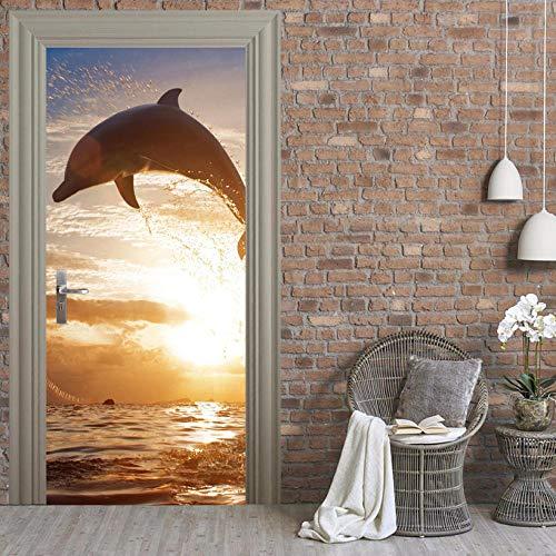 Door Wall Sticker Sea Dolphin Self-Adhesive Waterproof 3D Door Sticker Bedroom Living Room Wall Sticker Removable Mural