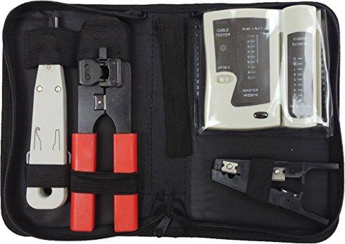 Faconet® Netzwerk Werkzeug-Set, Tasche für professionelle Kabel-Verlegung inkl. Netzwerk Kabel Tester, Anlegewerkzeug, Abisolierer, Crimpzange und Anleitung