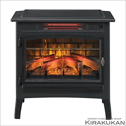 電気式暖炉 ロイドグランデ【電気薪ストーブパワーヒート(1000W) ブラック色】