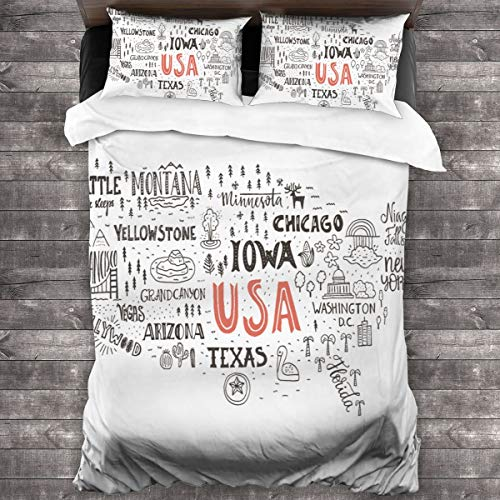 Duvet cover bedding Set,Outline United States Stylized Map,3 Piece Set bedding with 2 pillowcases,Double(200 * 200cm)